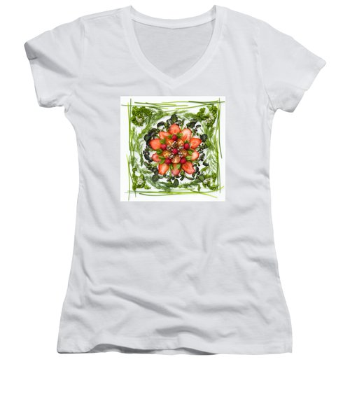 Fresh Fruit Salad Women's V-Neck T-Shirt (Junior Cut) by Anne Gilbert
