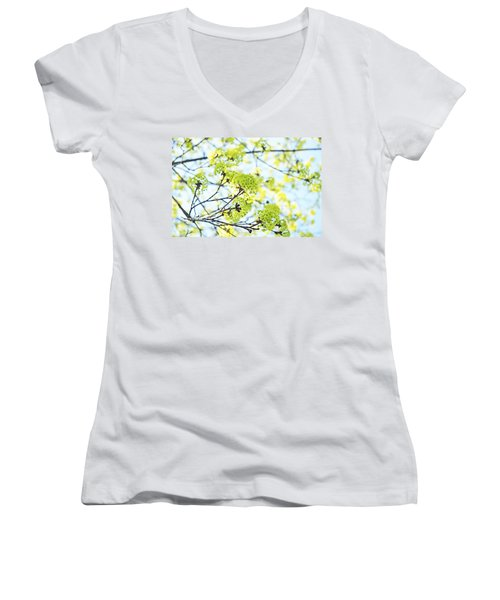 Women's V-Neck T-Shirt (Junior Cut) featuring the photograph Fresh Spring Green Buds by Brooke T Ryan