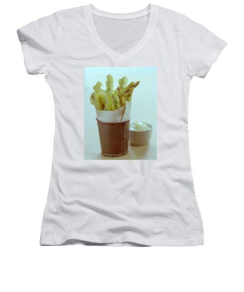 Fried Asparagus Women's V-Neck T-Shirt