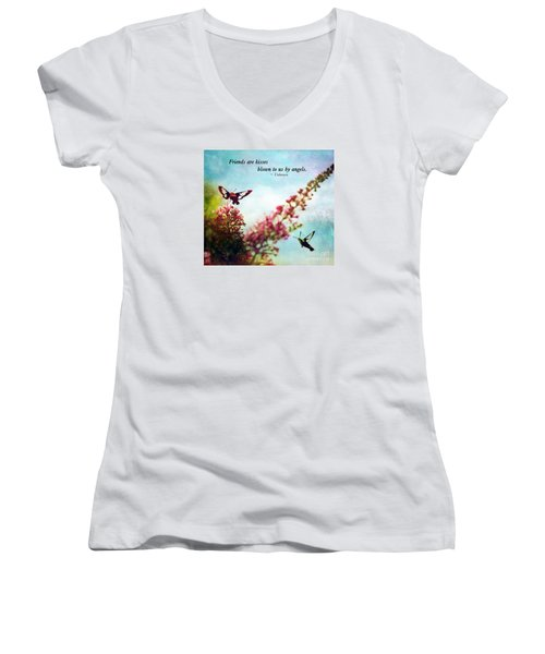 Women's V-Neck T-Shirt (Junior Cut) featuring the photograph Friends Are .....  by Kerri Farley