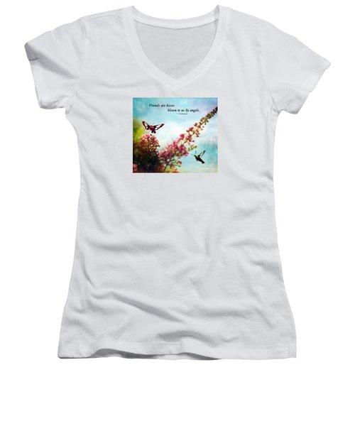 Friends Are .....  Women's V-Neck T-Shirt (Junior Cut) by Kerri Farley