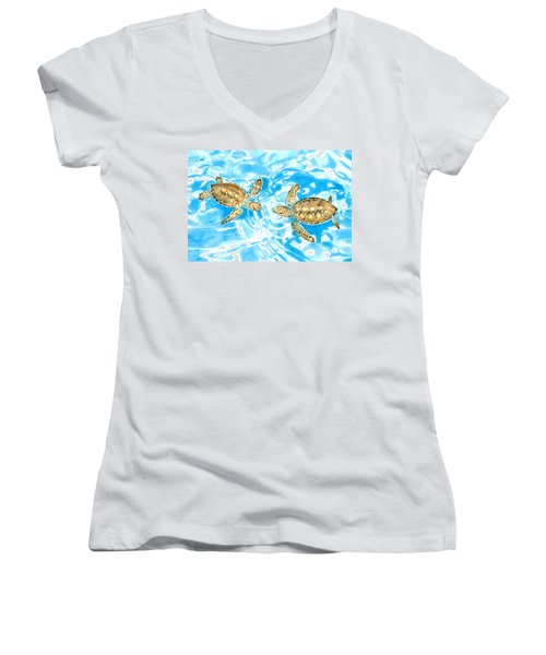Friends Baby Sea Turtles Women's V-Neck (Athletic Fit)