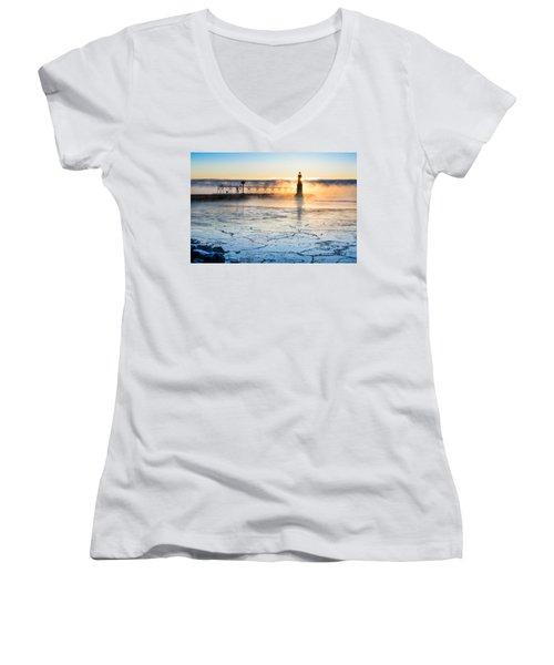 Frigid Sunrise Fog  Women's V-Neck T-Shirt