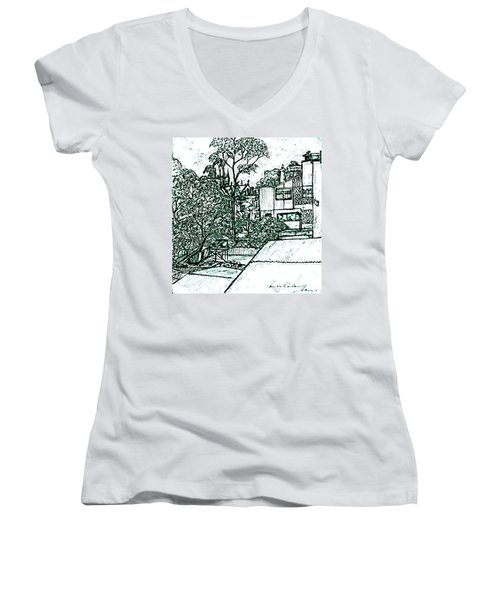 From My Window In Blue Women's V-Neck (Athletic Fit)