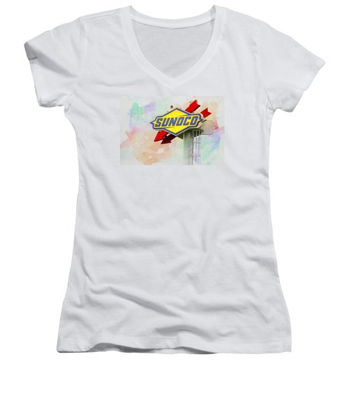 Women's V-Neck featuring the photograph From The Sunoco Roost by Alice Gipson