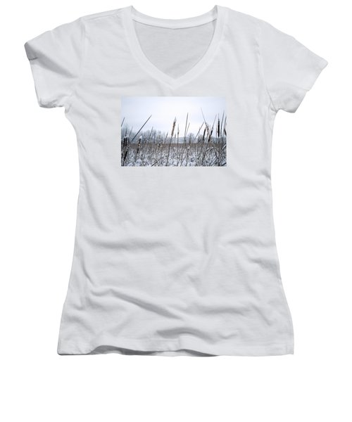 Frosty Cattails Women's V-Neck (Athletic Fit)