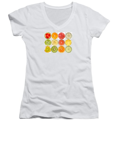 Fruit Market Women's V-Neck T-Shirt (Junior Cut) by Steve Gadomski