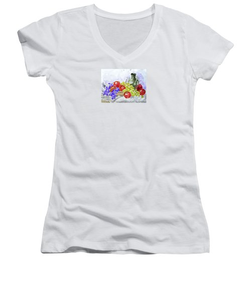 Women's V-Neck T-Shirt (Junior Cut) featuring the painting Fruit After Him by Jasna Dragun