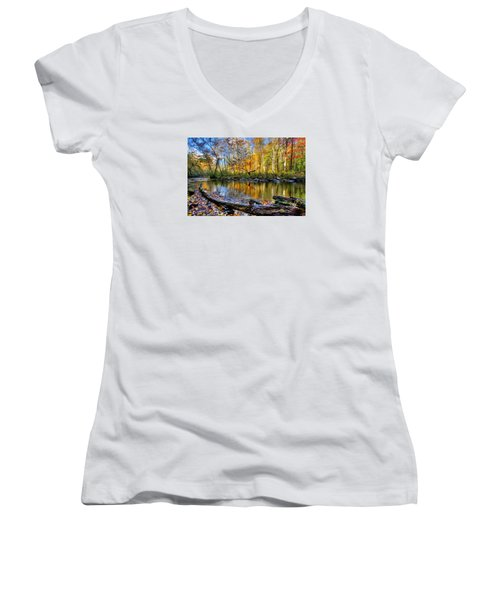 Full Box Of Crayons Women's V-Neck T-Shirt (Junior Cut) by Debra and Dave Vanderlaan
