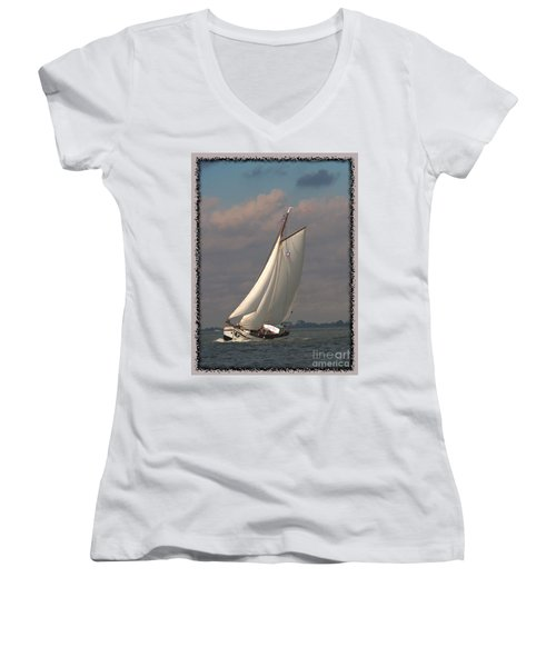Women's V-Neck featuring the photograph Full Sail by Luc Van de Steeg