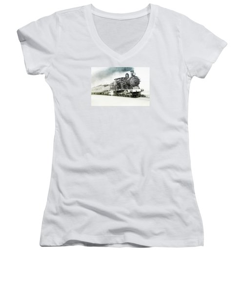 Women's V-Neck T-Shirt (Junior Cut) featuring the photograph Full Steam Ahead by Kevin Chippindall