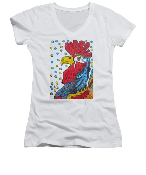 Funky Cartoon Rooster Women's V-Neck T-Shirt (Junior Cut) by Kathy Marrs Chandler