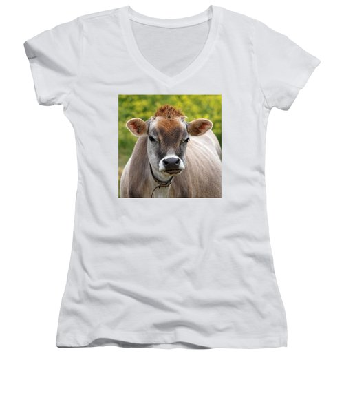 Funny Jersey Cow -square Women's V-Neck (Athletic Fit)