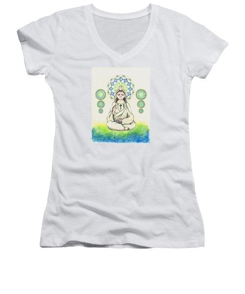 Fureai Quan Yin In Kyoto Women's V-Neck T-Shirt