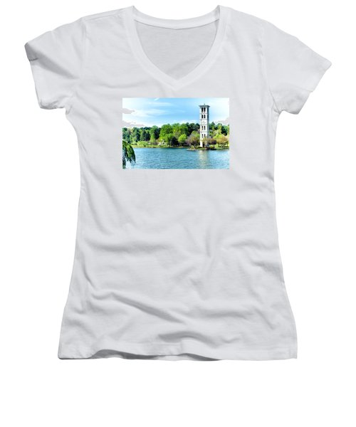 Furman Lake Women's V-Neck T-Shirt (Junior Cut) by Lynne Jenkins