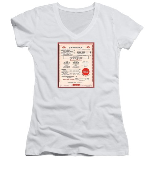 Fw Woolworth Lunch Counter Menu Women's V-Neck (Athletic Fit)