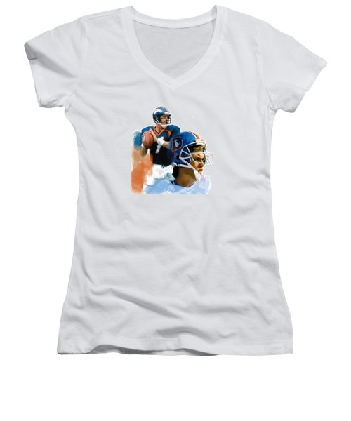 Game Elway  John Elway Women's V-Neck T-Shirt (Junior Cut) by Iconic Images Art Gallery David Pucciarelli