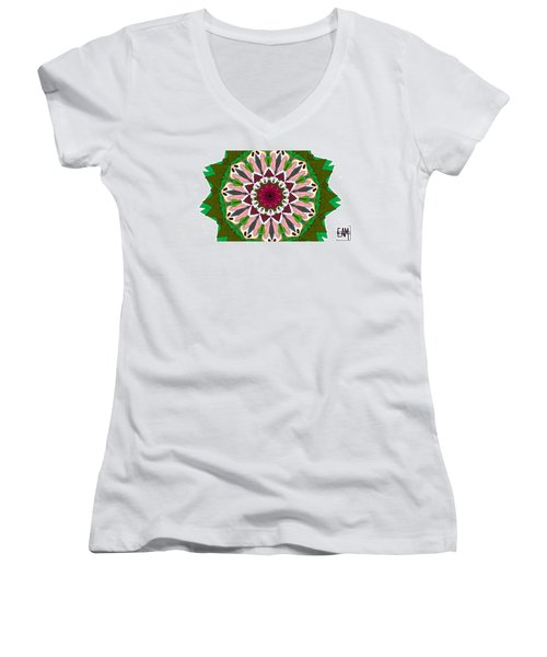 Women's V-Neck T-Shirt (Junior Cut) featuring the digital art Garden Party by Elizabeth McTaggart