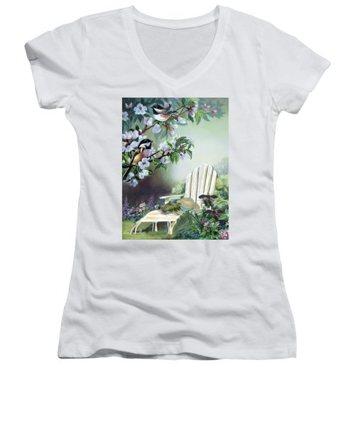 Chickadees In Blossom Tree Women's V-Neck T-Shirt (Junior Cut) by Regina Femrite