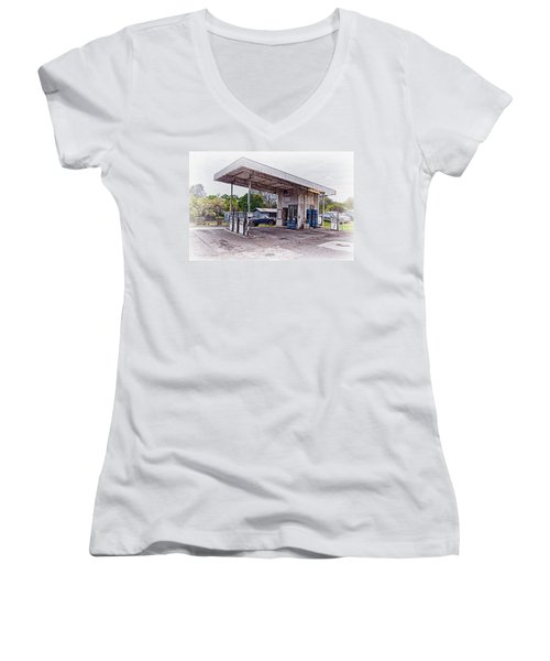Women's V-Neck T-Shirt (Junior Cut) featuring the photograph Gasoline Station by Jim Thompson