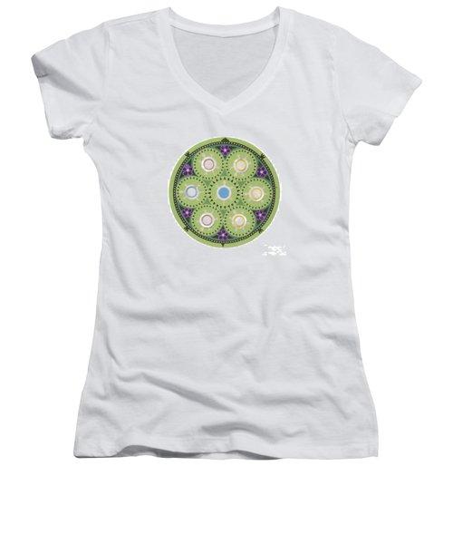 Gavino's Cradleboard Beadwork Women's V-Neck T-Shirt