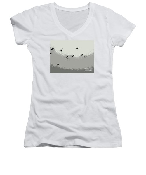 Women's V-Neck T-Shirt (Junior Cut) featuring the photograph Geese In Sillouehette by Nina Silver
