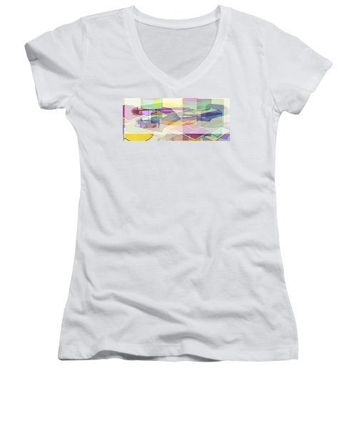 Women's V-Neck T-Shirt (Junior Cut) featuring the digital art Geo-art by Cathy Anderson