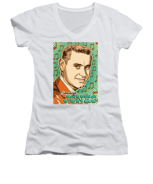 George Jones Pop Art Women's V-Neck T-Shirt (Junior Cut) by Jim Zahniser