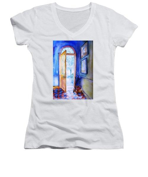 Winter Doorway Ireland    Women's V-Neck T-Shirt (Junior Cut) by Trudi Doyle