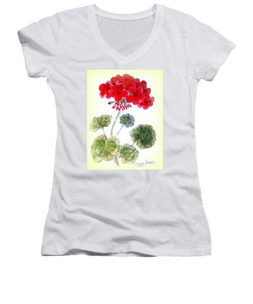 Geranium Women's V-Neck T-Shirt