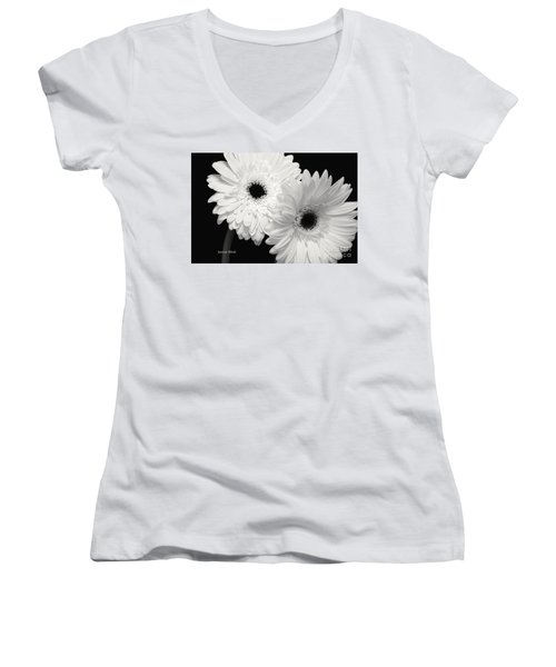 Women's V-Neck T-Shirt (Junior Cut) featuring the photograph Gerbera Daisy Sisters by Jeannie Rhode