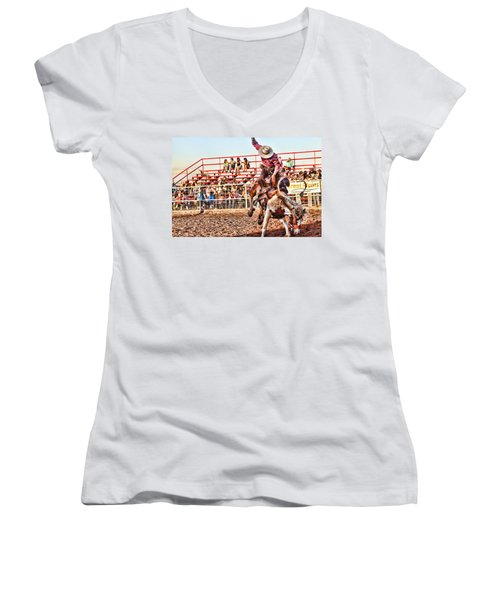 Women's V-Neck T-Shirt (Junior Cut) featuring the photograph Get Off My Back by Toni Hopper
