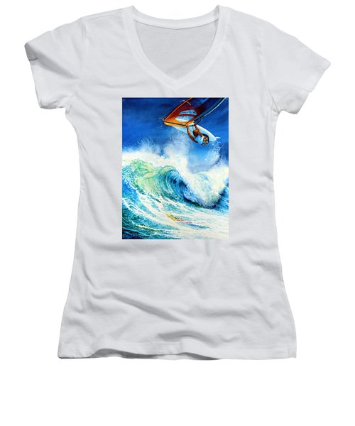 Women's V-Neck (Athletic Fit) featuring the painting Getting Air by Hanne Lore Koehler