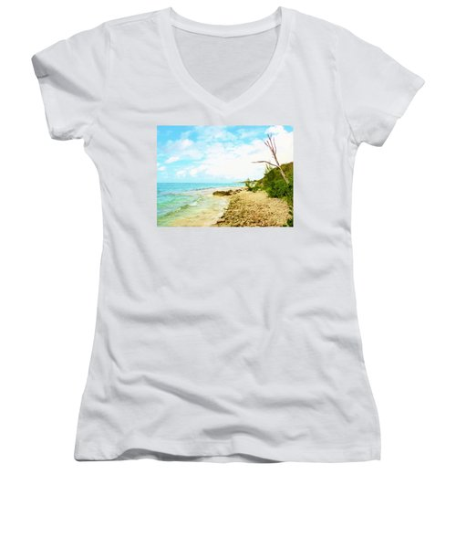 Women's V-Neck T-Shirt (Junior Cut) featuring the photograph Ghost Tree by Amar Sheow