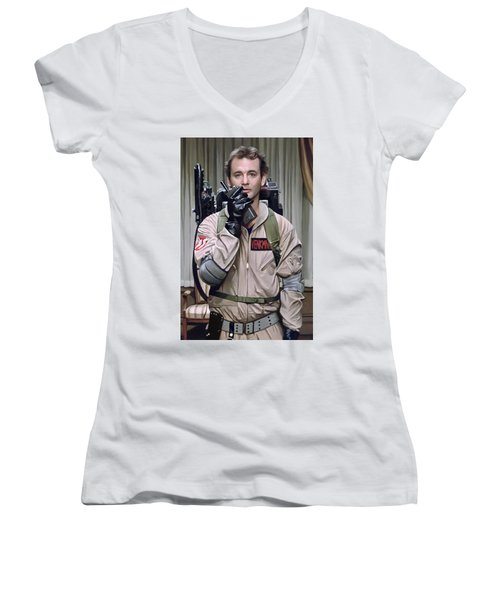 Women's V-Neck T-Shirt (Junior Cut) featuring the painting Ghostbusters - Bill Murray Artwork 2 by Sheraz A