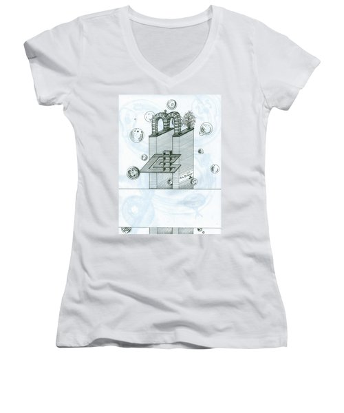 Ghostly Music 1 Women's V-Neck (Athletic Fit)