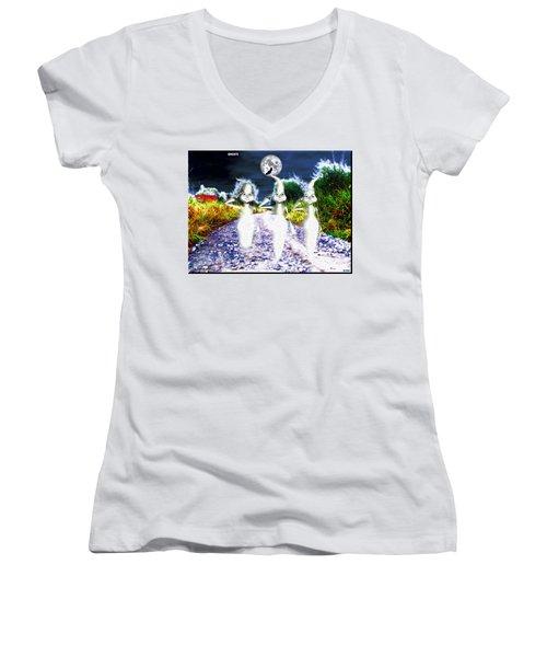 Women's V-Neck T-Shirt (Junior Cut) featuring the digital art Ghosts by Daniel Janda