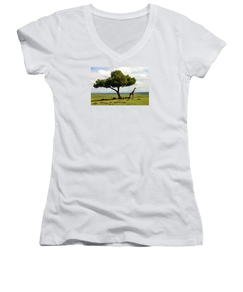 Giraffe And The Lonely Tree  Women's V-Neck T-Shirt (Junior Cut) by Menachem Ganon