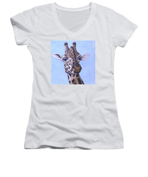 Giraffe Eye To Eye Women's V-Neck (Athletic Fit)