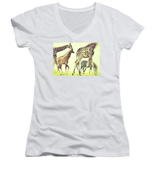 Women's V-Neck T-Shirt (Junior Cut) featuring the photograph Giraffes And A Zebra In The Mist by Nick  Biemans