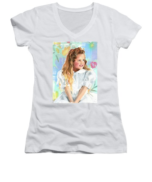 Girl In A White Lace Dress  Women's V-Neck T-Shirt