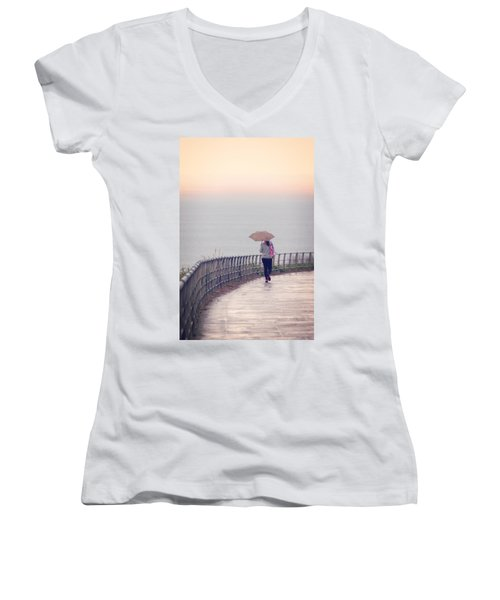 Girl Walking With Umbrella Women's V-Neck