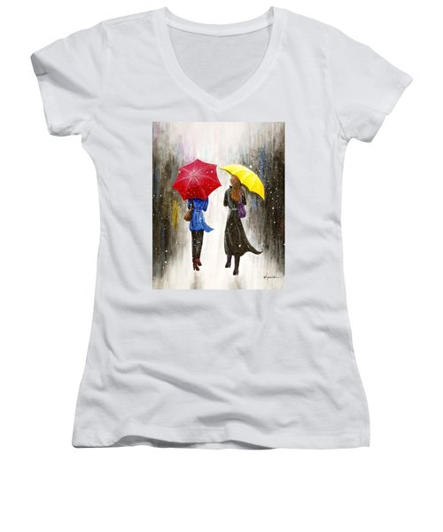 Girlfriends Women's V-Neck T-Shirt (Junior Cut) by Kume Bryant