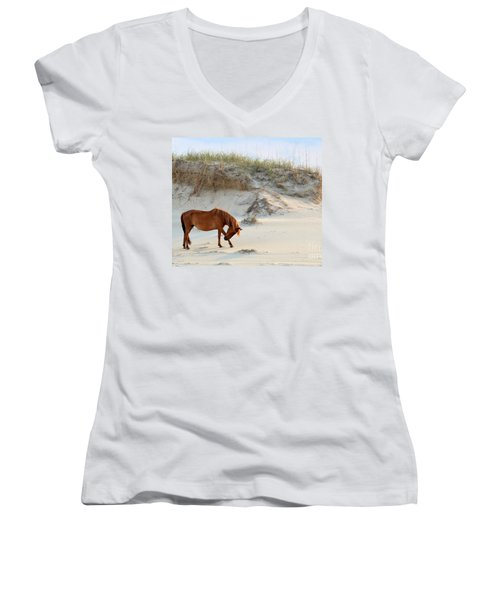 Giving Thanks Women's V-Neck T-Shirt (Junior Cut) by Debbie Green