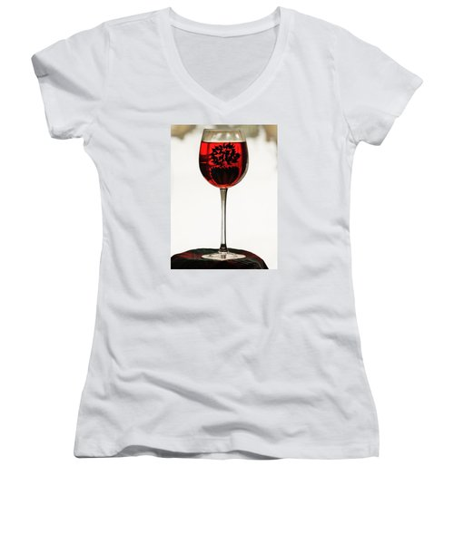Women's V-Neck T-Shirt (Junior Cut) featuring the photograph Glass Of Wine... by Al Fritz