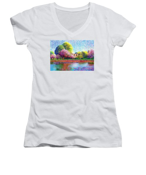 Women's V-Neck T-Shirt (Junior Cut) featuring the painting Glastonbury Abbey Lily Pool by Jane Small