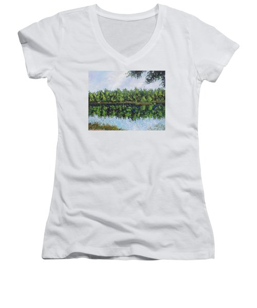 Glenoak Lake Women's V-Neck T-Shirt (Junior Cut) by Jason Williamson