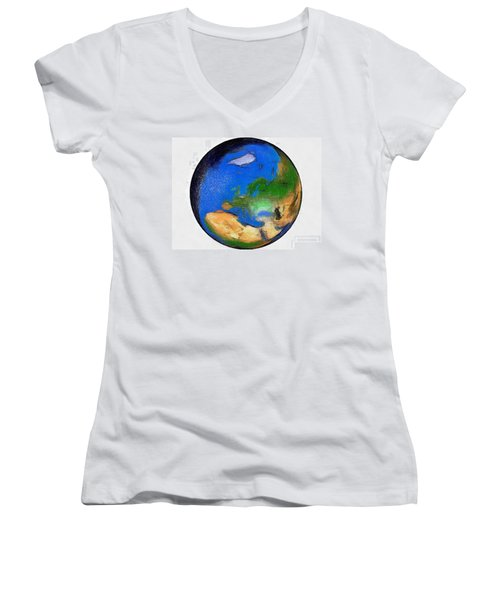 Globe 3d Picture Women's V-Neck T-Shirt (Junior Cut) by Georgi Dimitrov