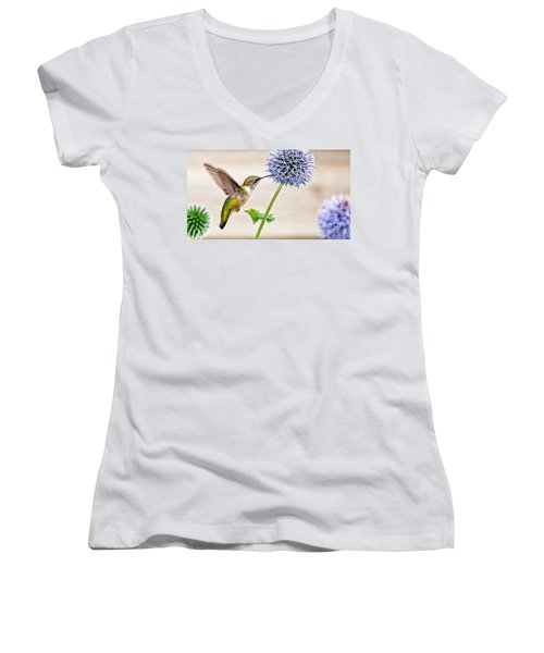 Globe Thistle Hummer Women's V-Neck