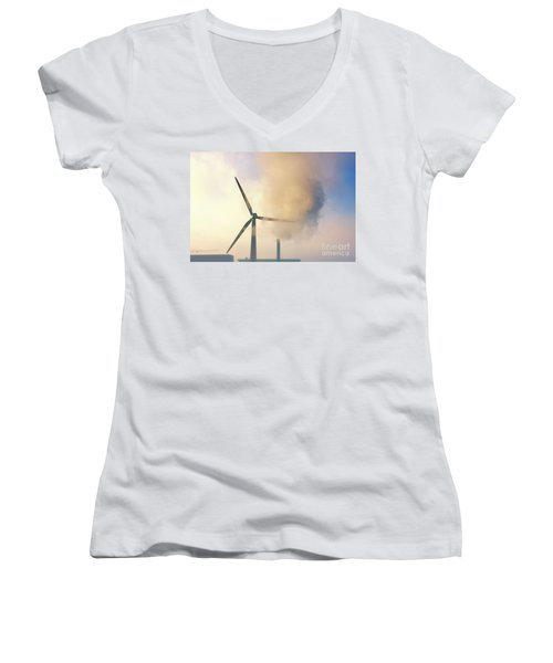 Gloomy Industrial View. Women's V-Neck